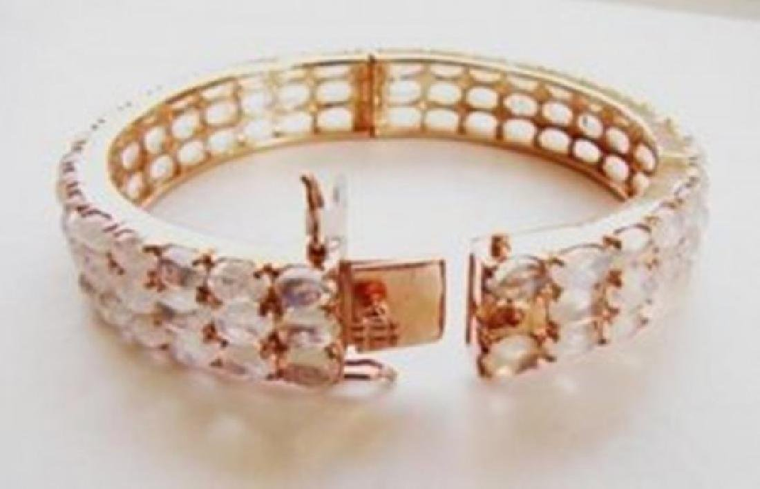 Bangle Nature Moon Stones 60.80Ct 18k R/g Overlay - 3