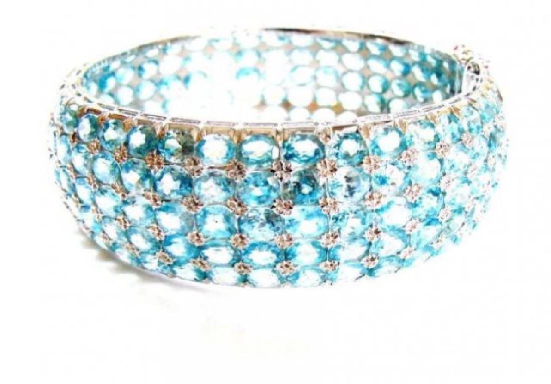 Natural Blue Zircon Bracelet 200.1 Ct 18k W/g Overlay 9