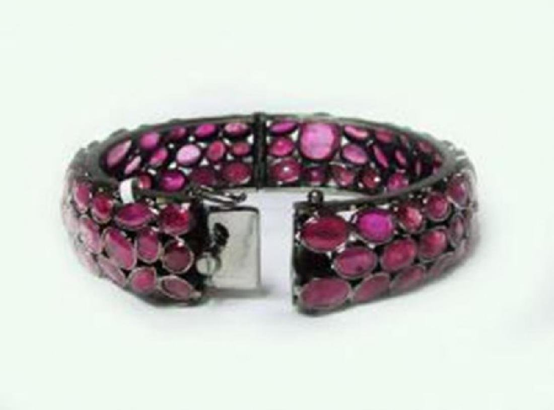 Natural Gems Ruby Bangle 110.67Carat 18k B/g Overlay - 3