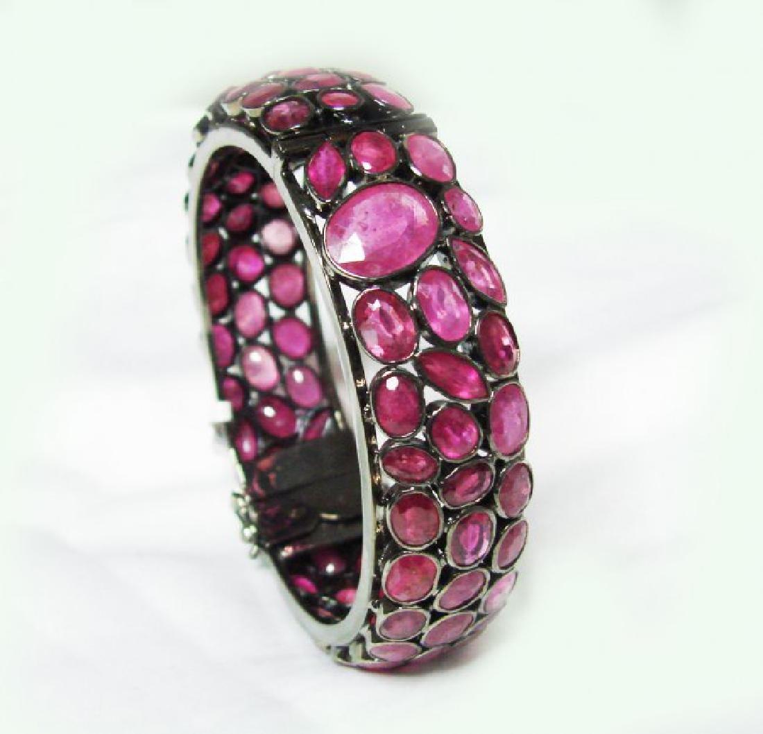 Natural Gems Ruby Bangle 110.Carat 18k Y/g Overlay - 2