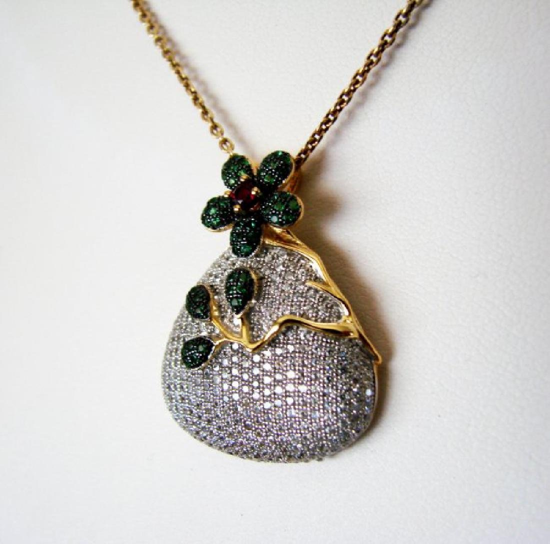 Creation Emerald/Ruby/Dia Pear Pendant 18k W/G Overlay - 2
