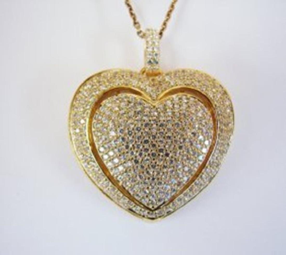 Creation Diamond/Heart Pendant 4.32Ct 18k Y/g Overlay
