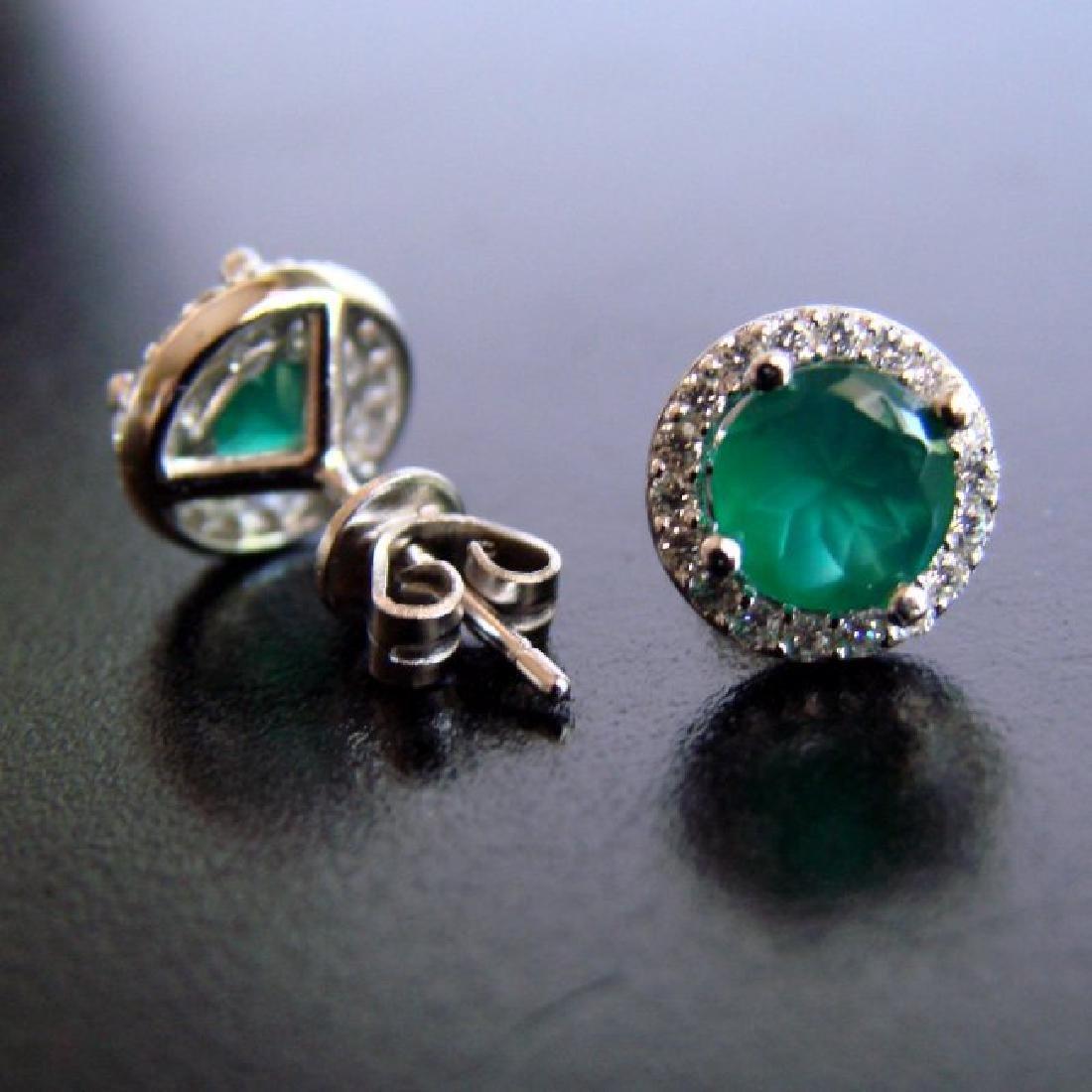 Creation Diamond & Emerald Stud Earring 2.62Ct 18k W/g - 2