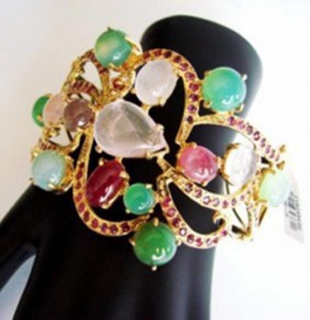 Bangle Natural Gems Multicolor 69.89Ct 18k Y/g Overlay