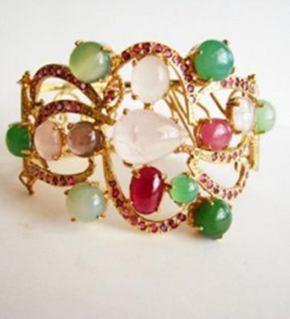 Bangle Natural Gems Multicolor 69.89Ct 18k Y/g Overlay - 2