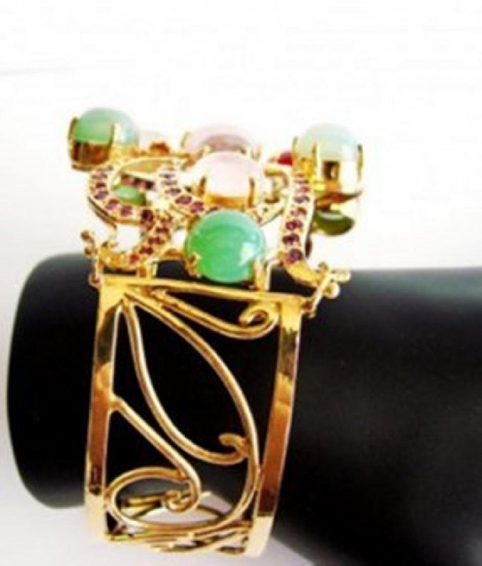 Bangle Natural Gems Multicolor 69.89Ct 18k Y/g Overlay - 3