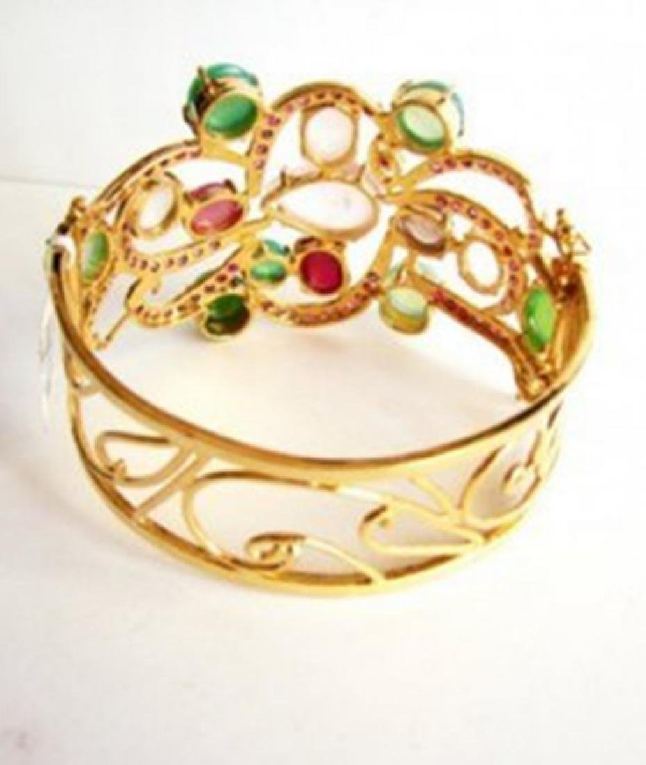 Bangle Natural Gems Multicolor 69.89Ct 18k Y/g Overlay - 4