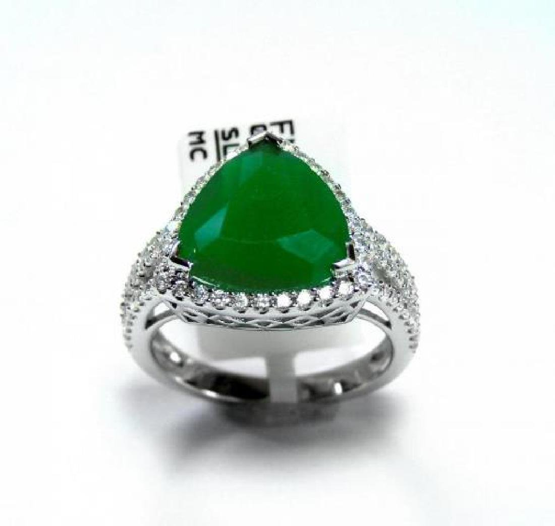 Creation Diamond/Green Onyx 5.56 Carat 18k W/g Overlay