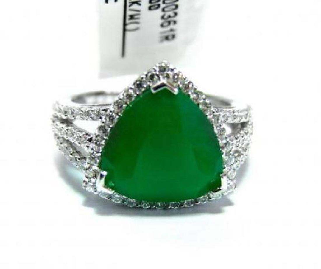 Creation Diamond/Green Onyx 5.56 Carat 18k W/g Overlay - 2