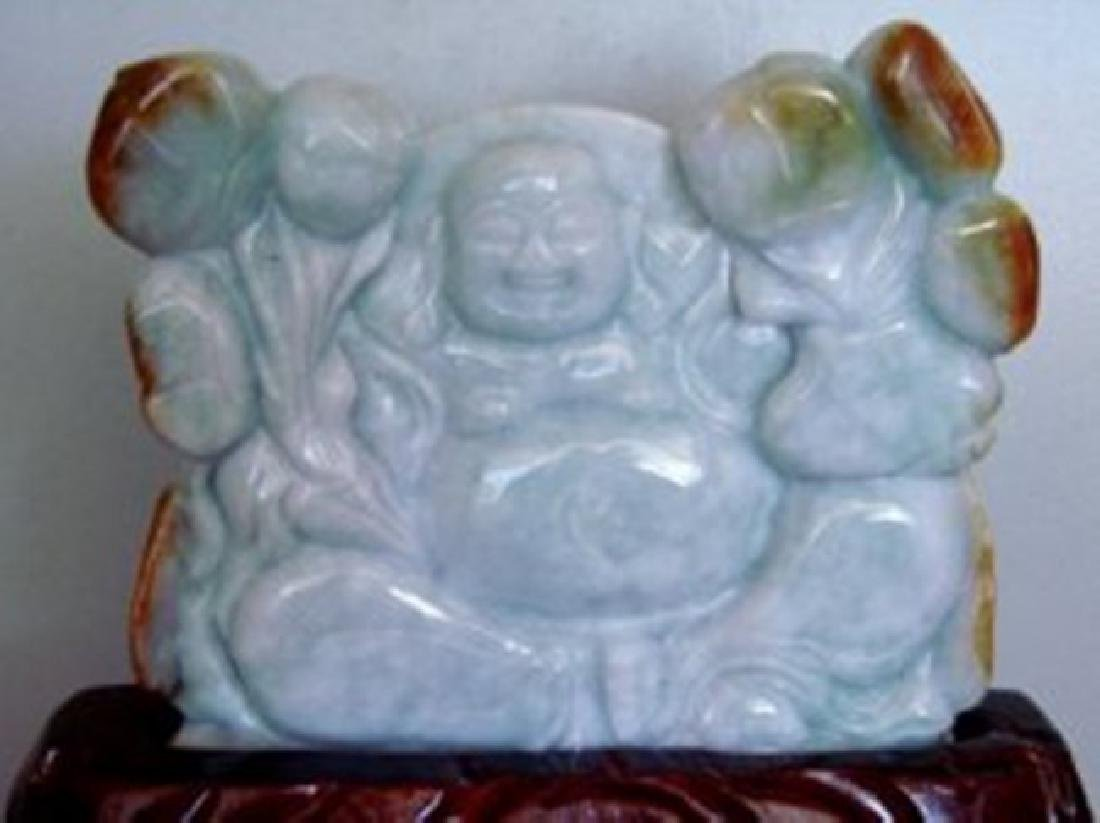 19th Century Buddha Hand Carved Jade Weight 1.5 pound