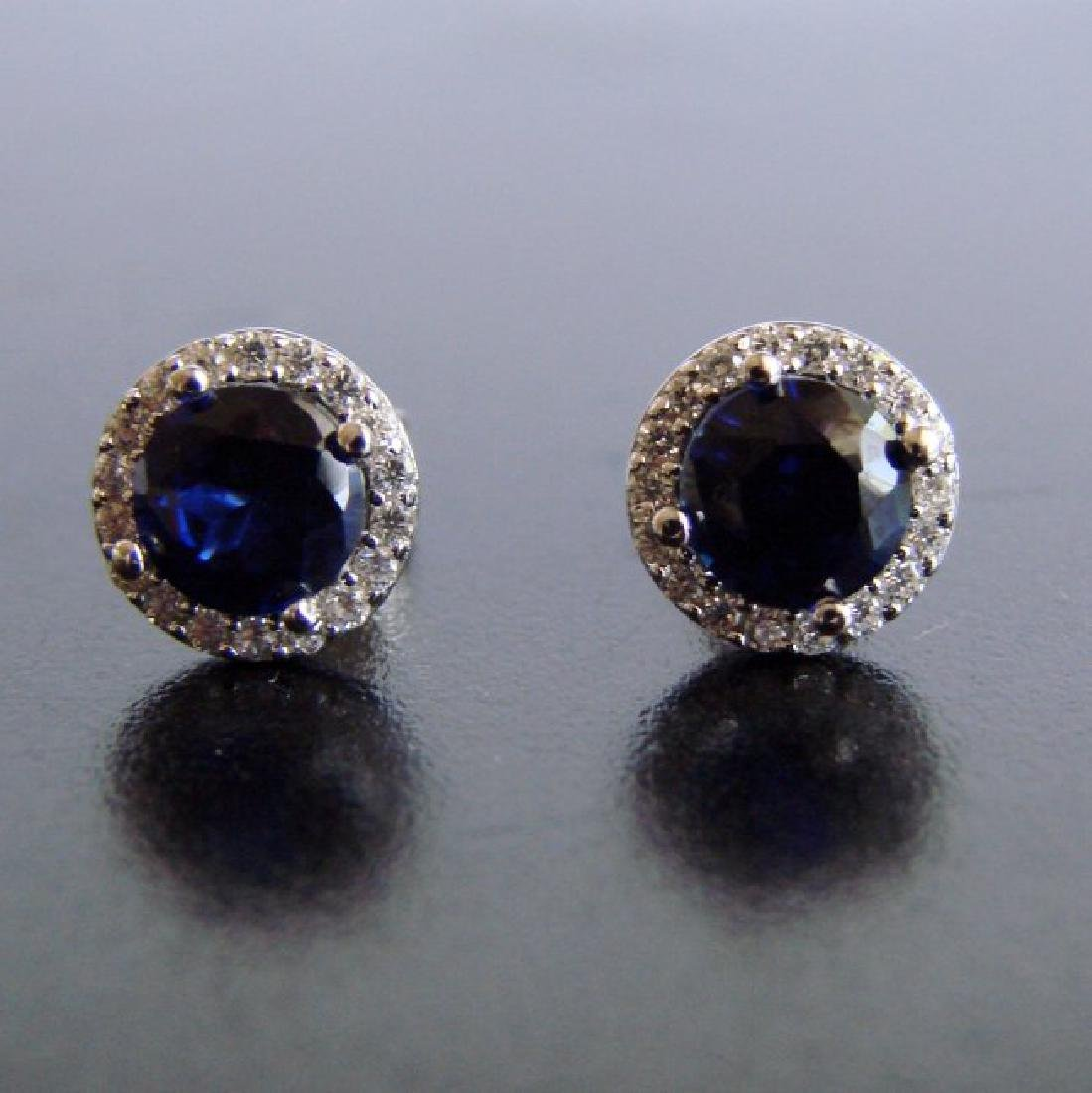 Creation Diamond & Sapphire Stud Earring 2.62Ct 18k W/g