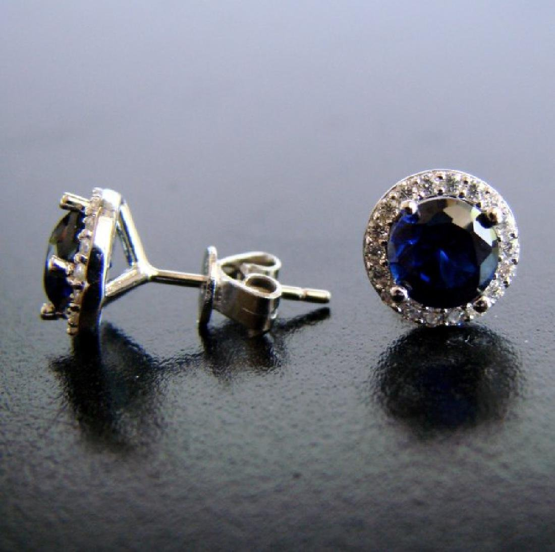 Creation Diamond & Sapphire Stud Earring 2.62Ct 18k W/g - 2