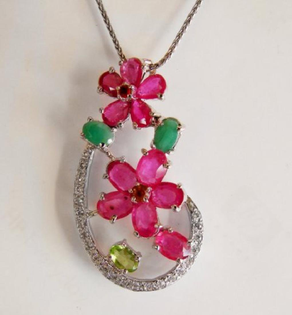 Natural Gems Multicolor Pendant 4.62Ct 18k W/g Overlay