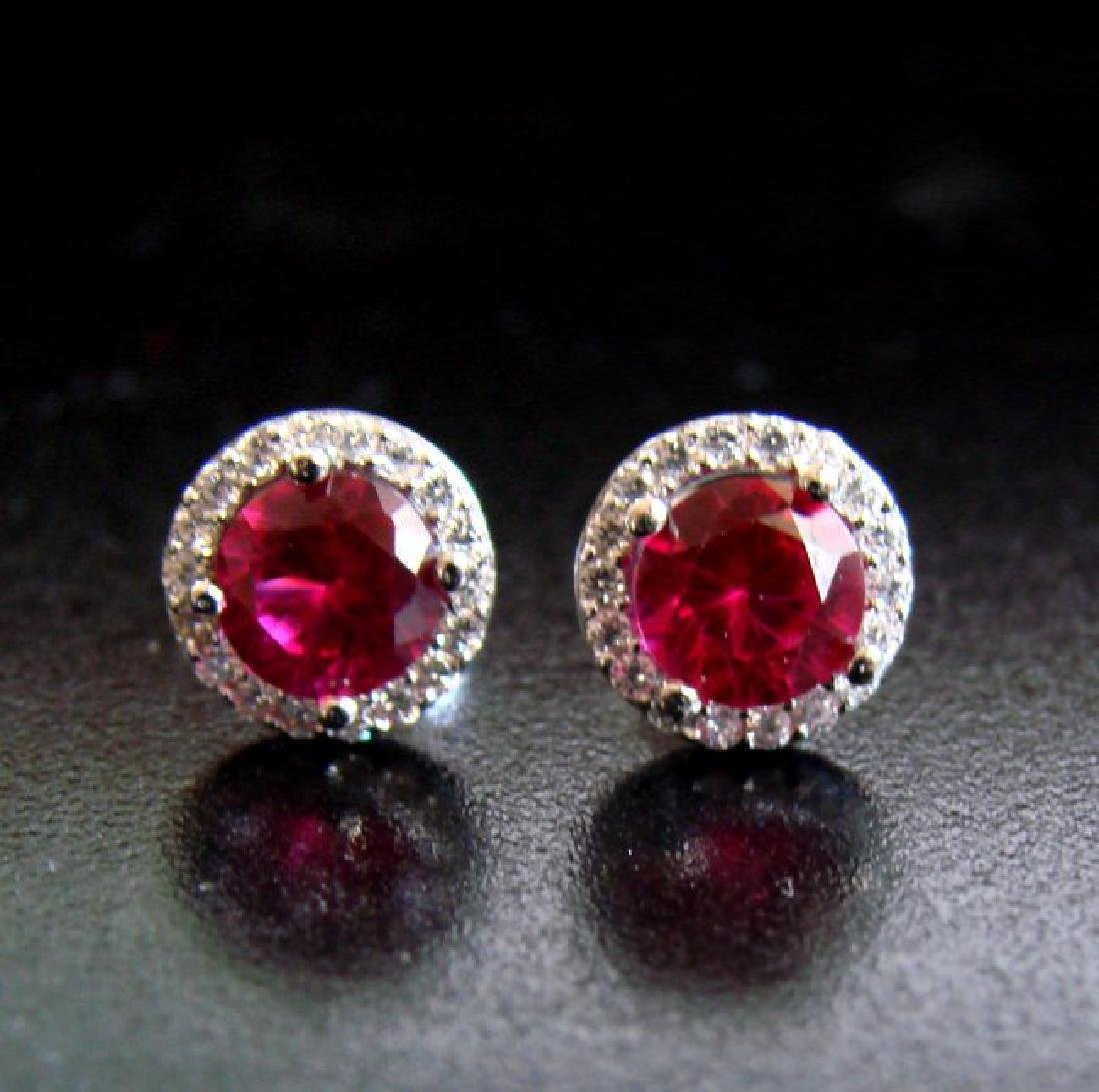 Creation Diamond & Ruby Stud Earring 2.62Ct 18k W/g