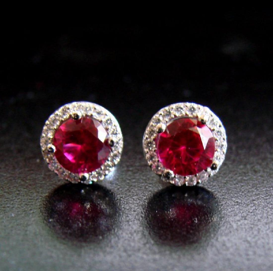 Creation Diamond & Ruby Stud Earring 2.62Ct 18k W/g