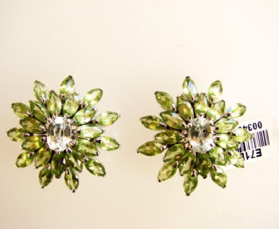 Peridot &White Topaz Earrings 14.75Ct 18k W/g Overlay