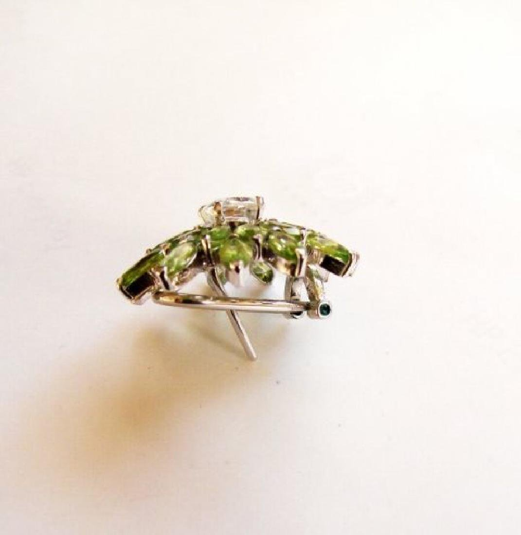 Peridot &White Topaz Earrings 14.75Ct 18k W/g Overlay - 2