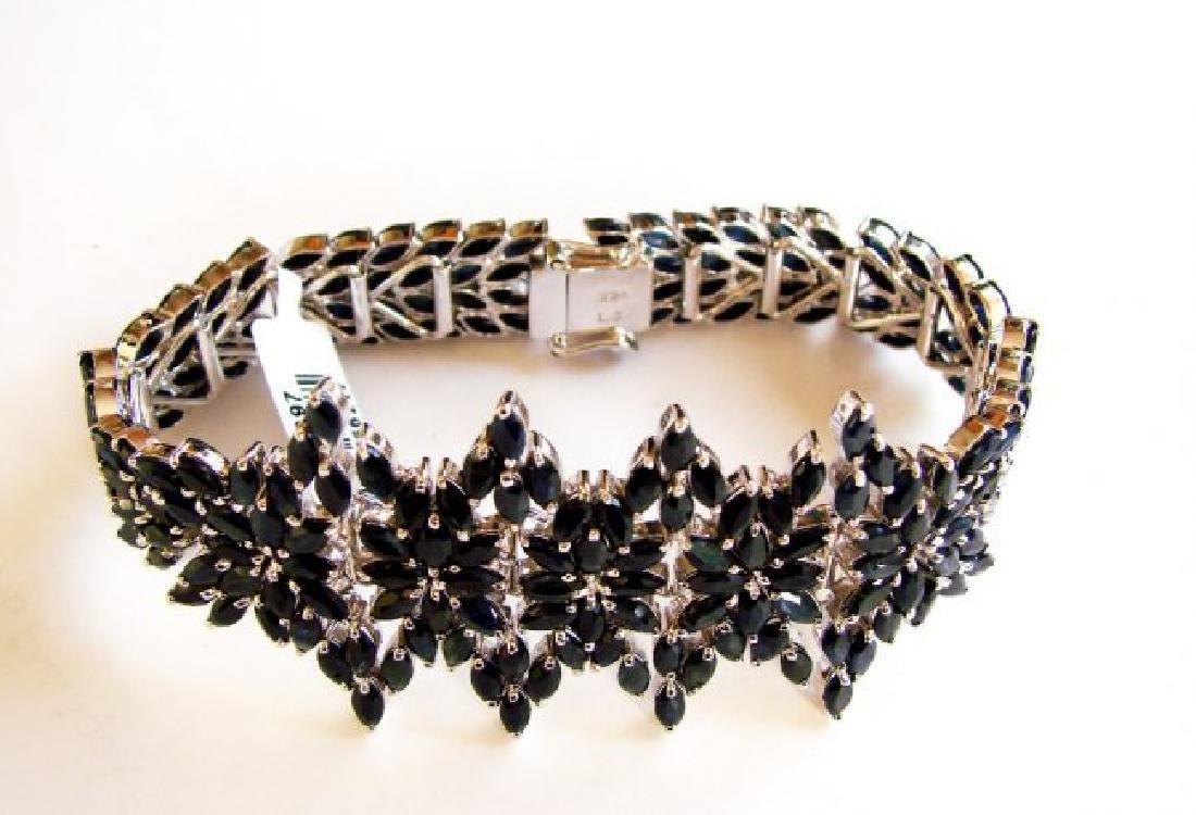 Natural Sapphire Bracelet 37.06Ct 18k W/g Overlay - 2