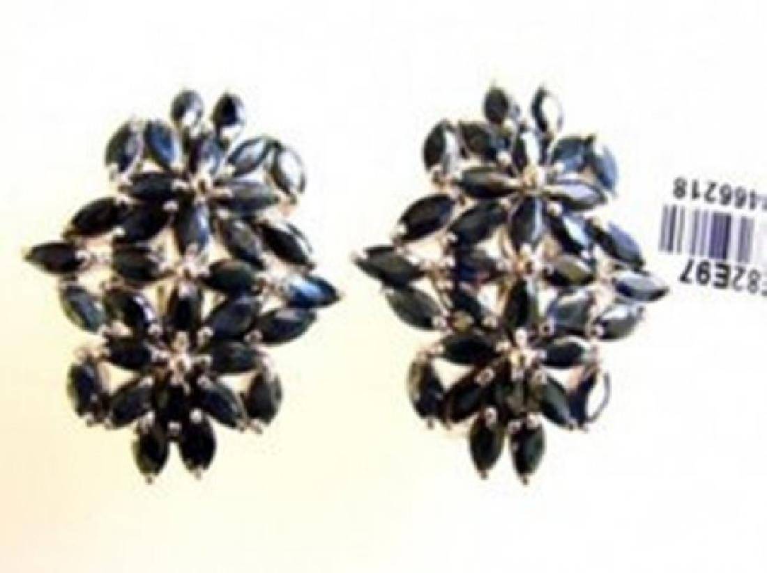 Natural Sapphire Earrings 10.88Ct 18k W/g Overlay