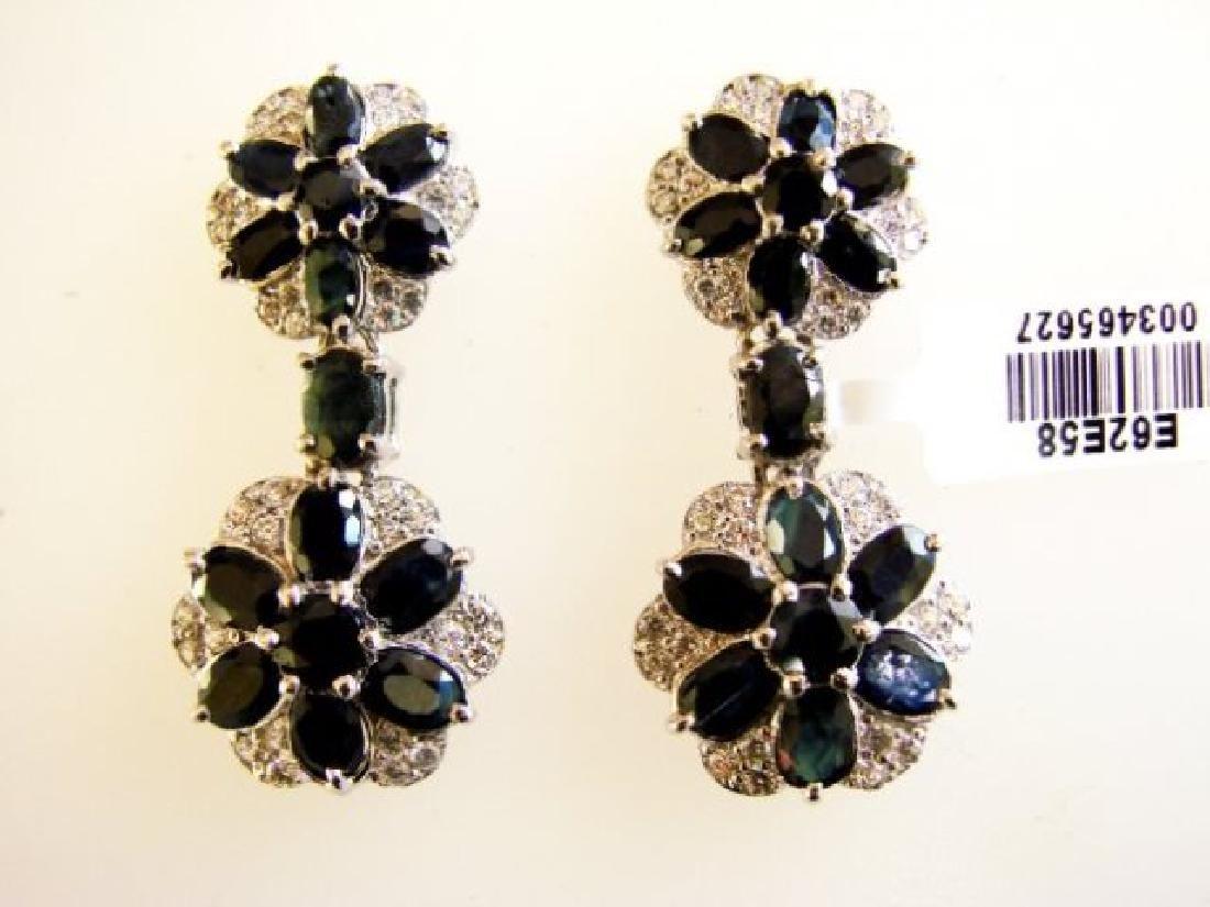 Sapphire&Creation Diamond Earr 19.25Ct 18k W/g Overlay