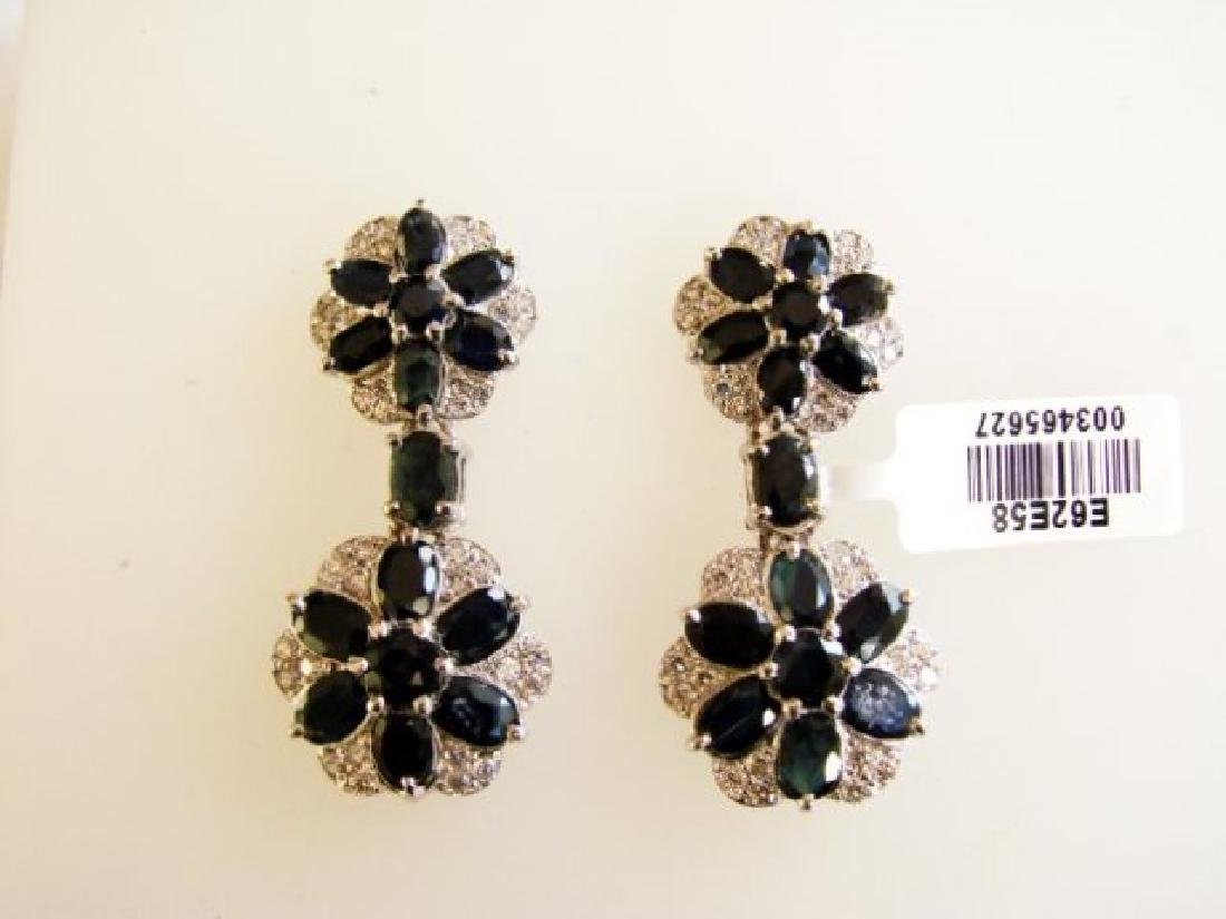 Sapphire&Creation Diamond Earr 19.25Ct 18k W/g Overlay - 2