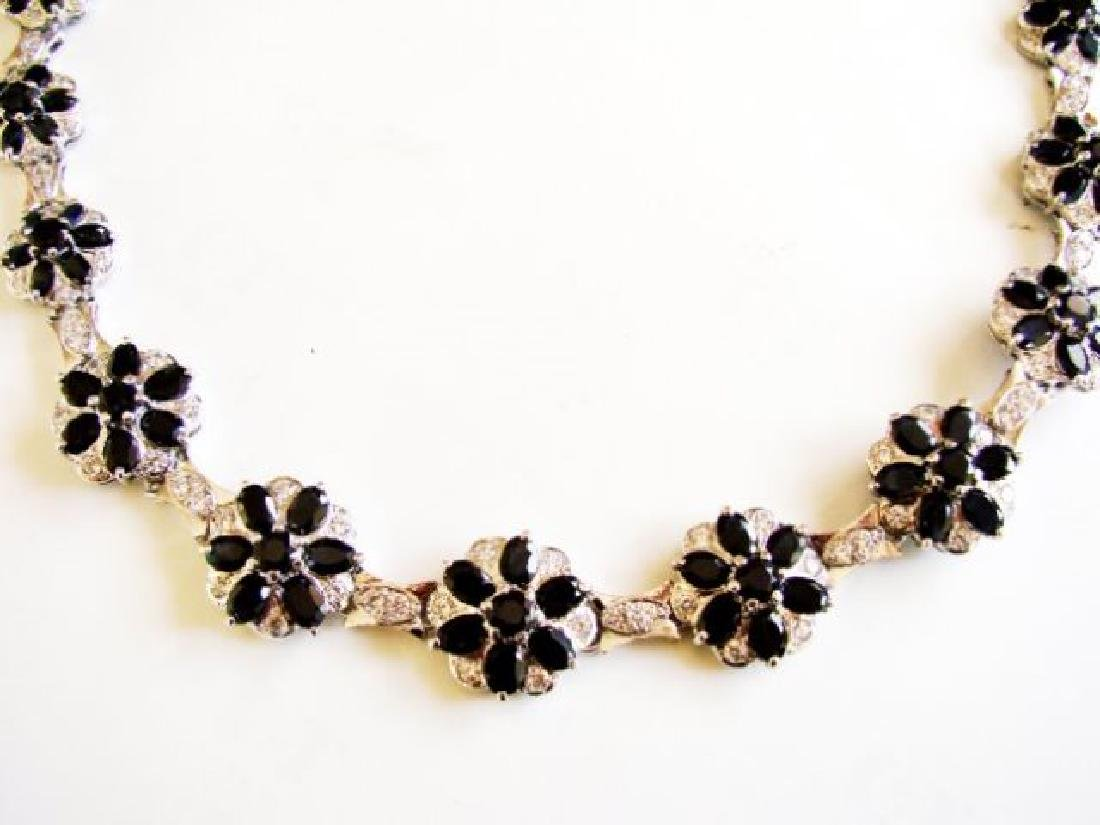 Sapphire&Creation Diamond Necklace 102.03Ct18k W/g Over
