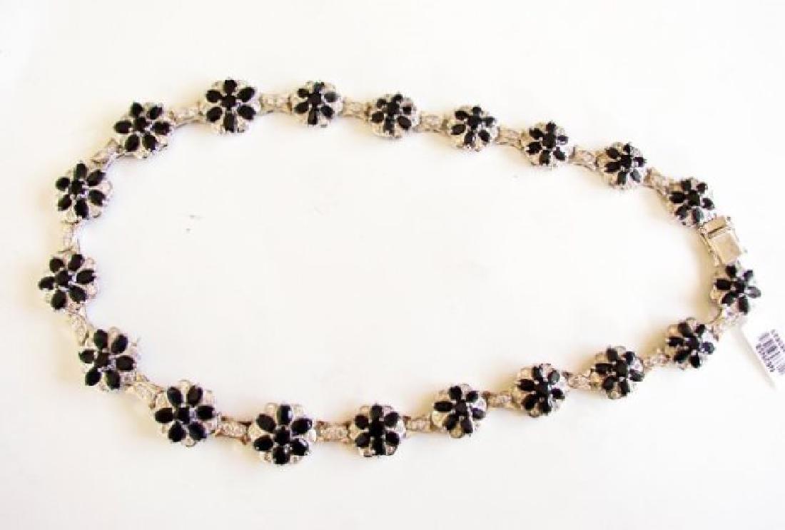 Sapphire&Creation Diamond Necklace 102.03Ct18k W/g Over - 3