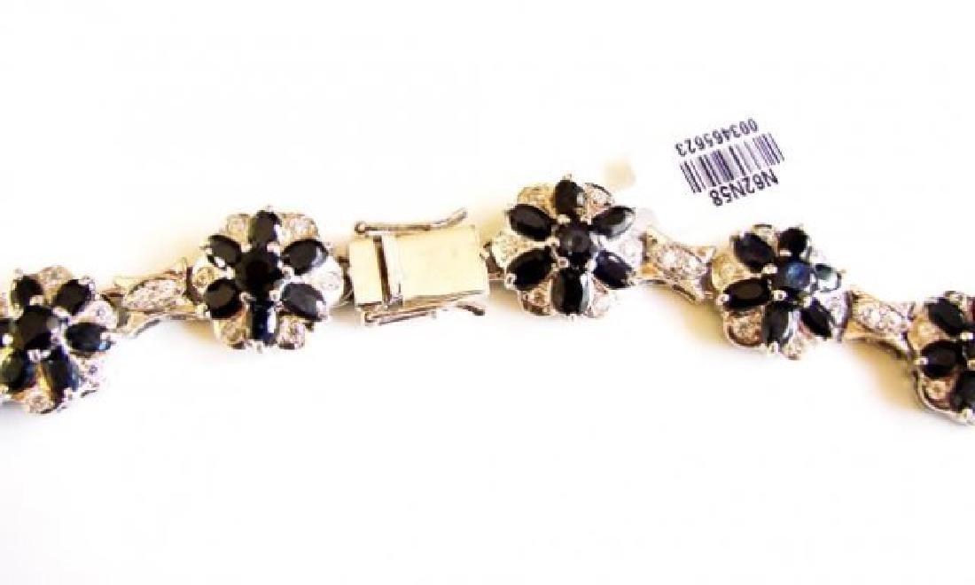 Sapphire&Creation Diamond Necklace 102.03Ct18k W/g Over - 4