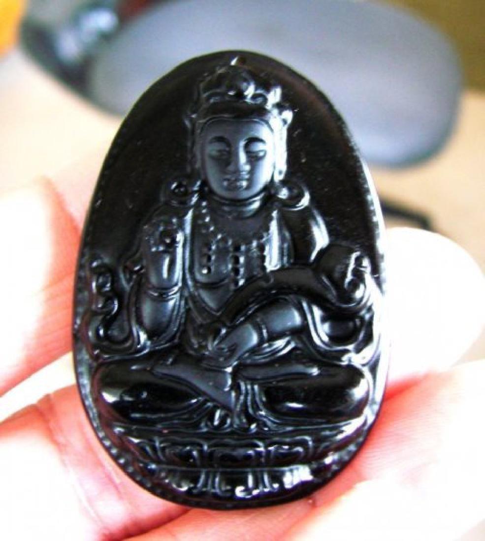 Onyx carving Guanyin Buddha 102.70Ct 45x32x9 mm