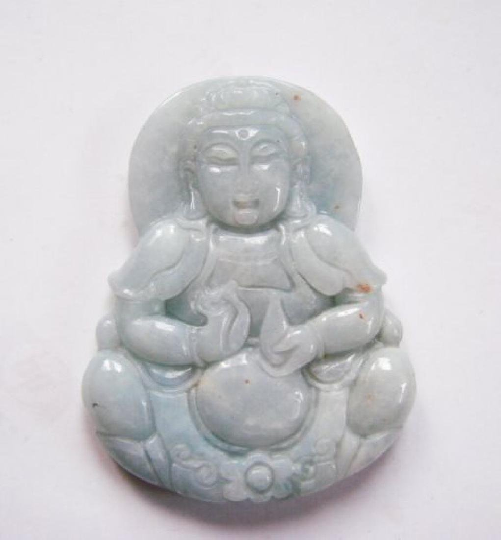 Natural green jadeite jade Guanyin Buddha Grade A