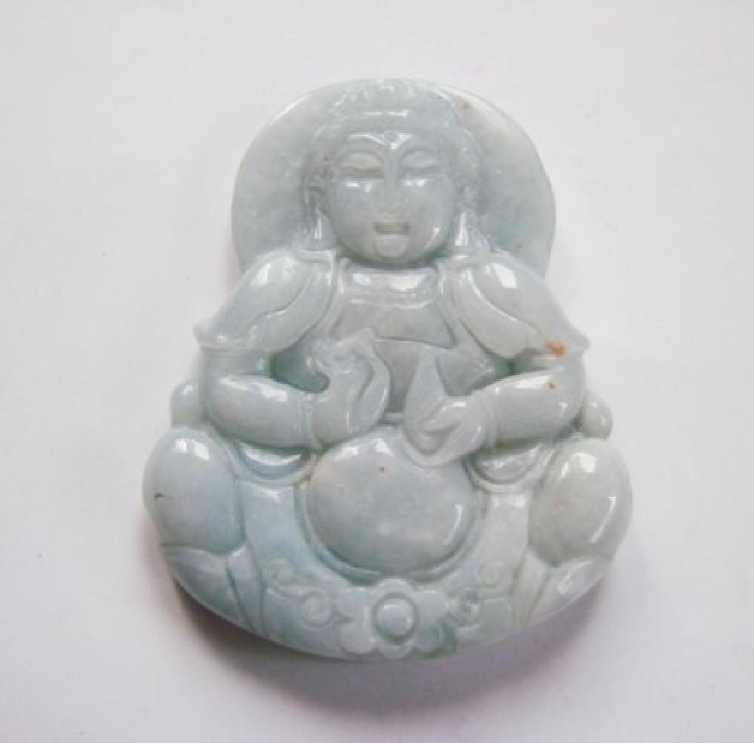 Natural green jadeite jade Guanyin Buddha Grade A - 2