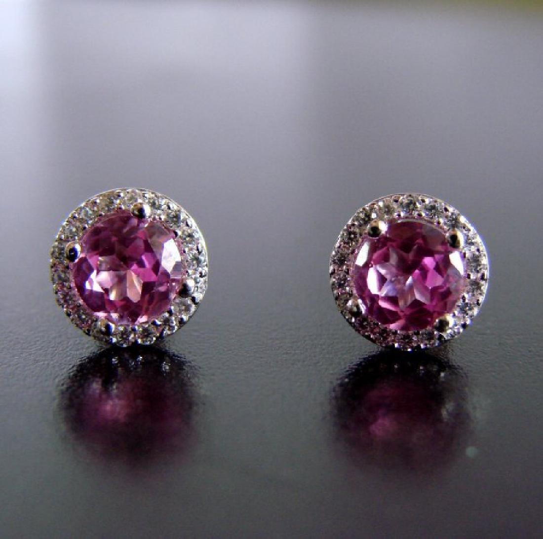 Creation Diamond & Pink Topaz Earrings 2.36Ct 18k W/g
