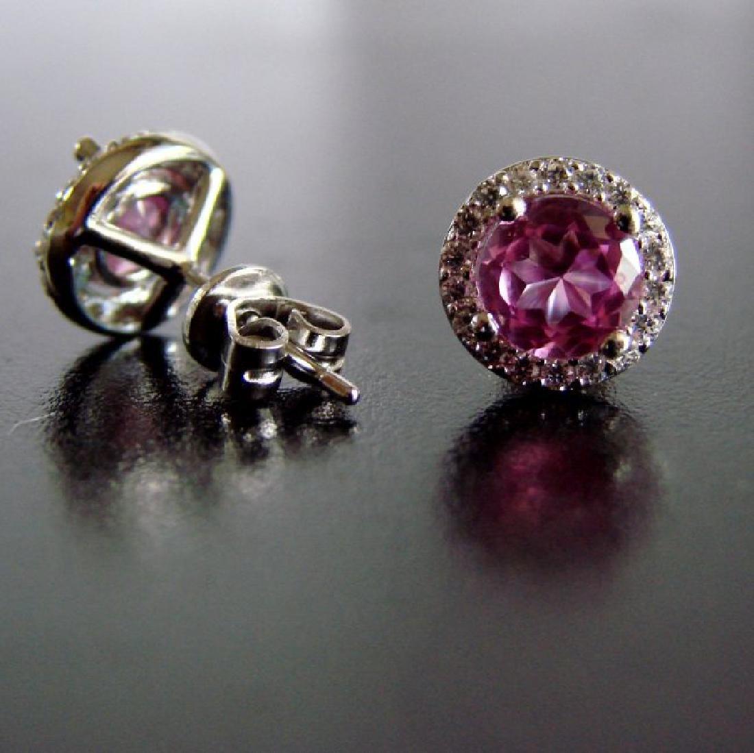 Creation Diamond & Pink Topaz Earrings 2.36Ct 18k W/g - 2