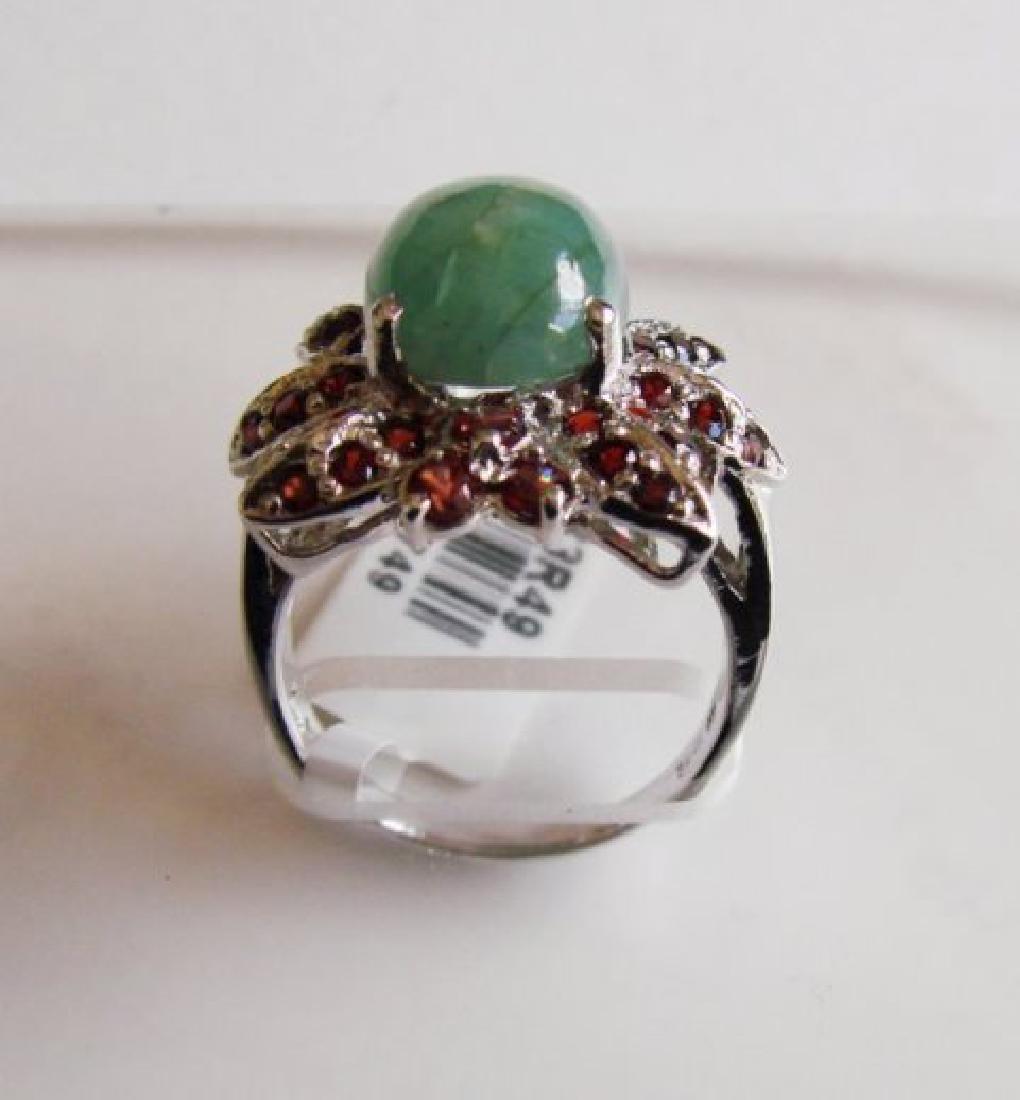 Green Chrysoprase-Garnet Ring 9.82Ct 18k W/g Overlay - 4