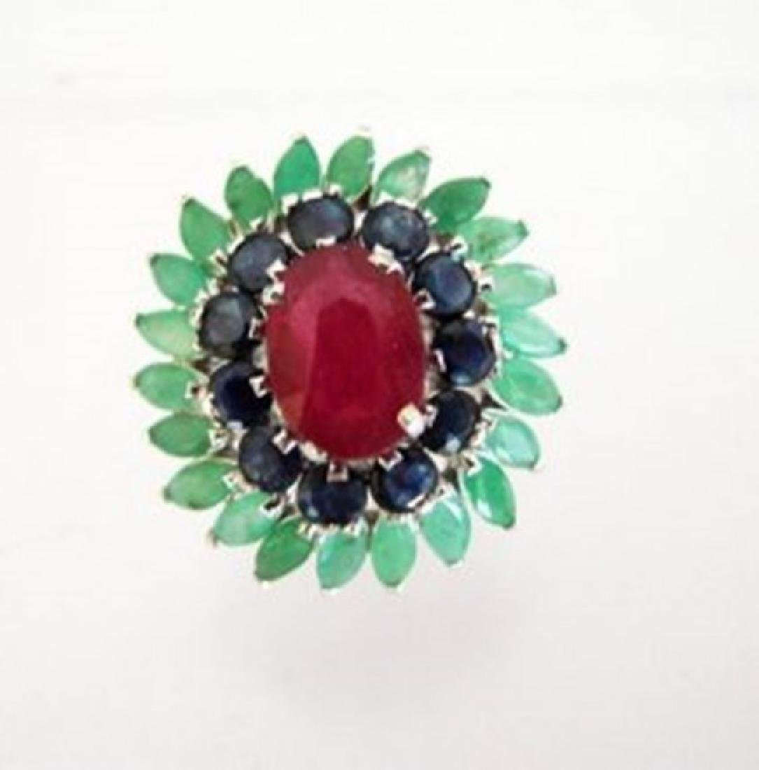 Natural Multicolor Ring 8.24Ct 18k W/g Overlay