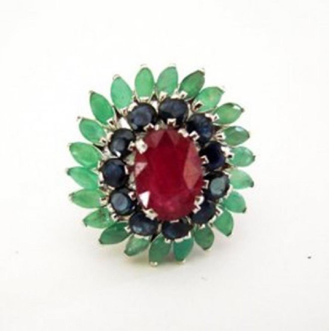 Natural Multicolor Ring 8.24Ct 18k W/g Overlay - 2