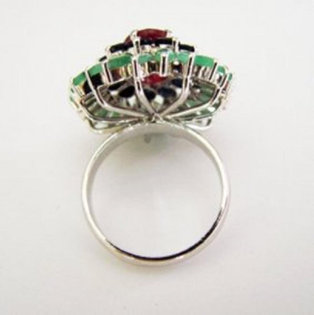 Natural Multicolor Ring 8.24Ct 18k W/g Overlay - 4