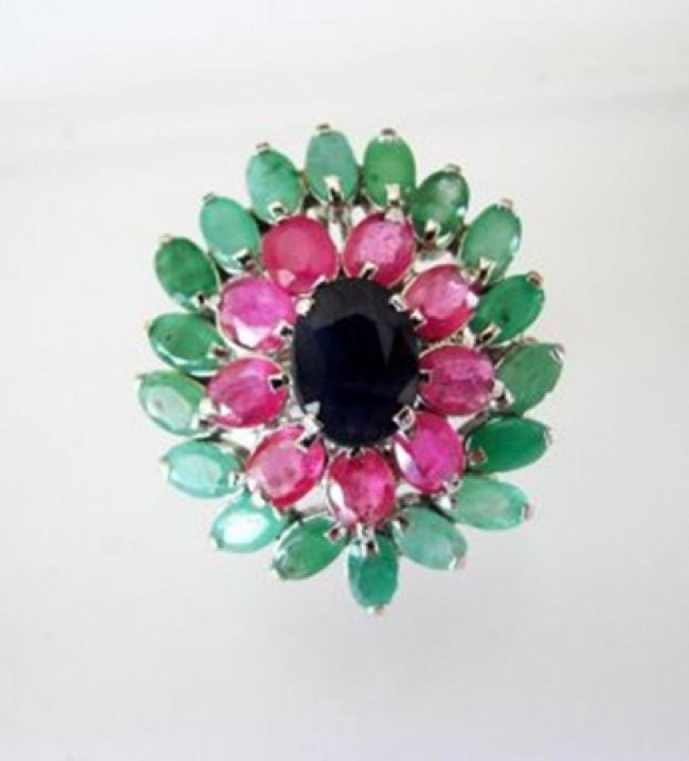 Natural  Multicolor Ring 12.64Ct 18k W/g Overlay