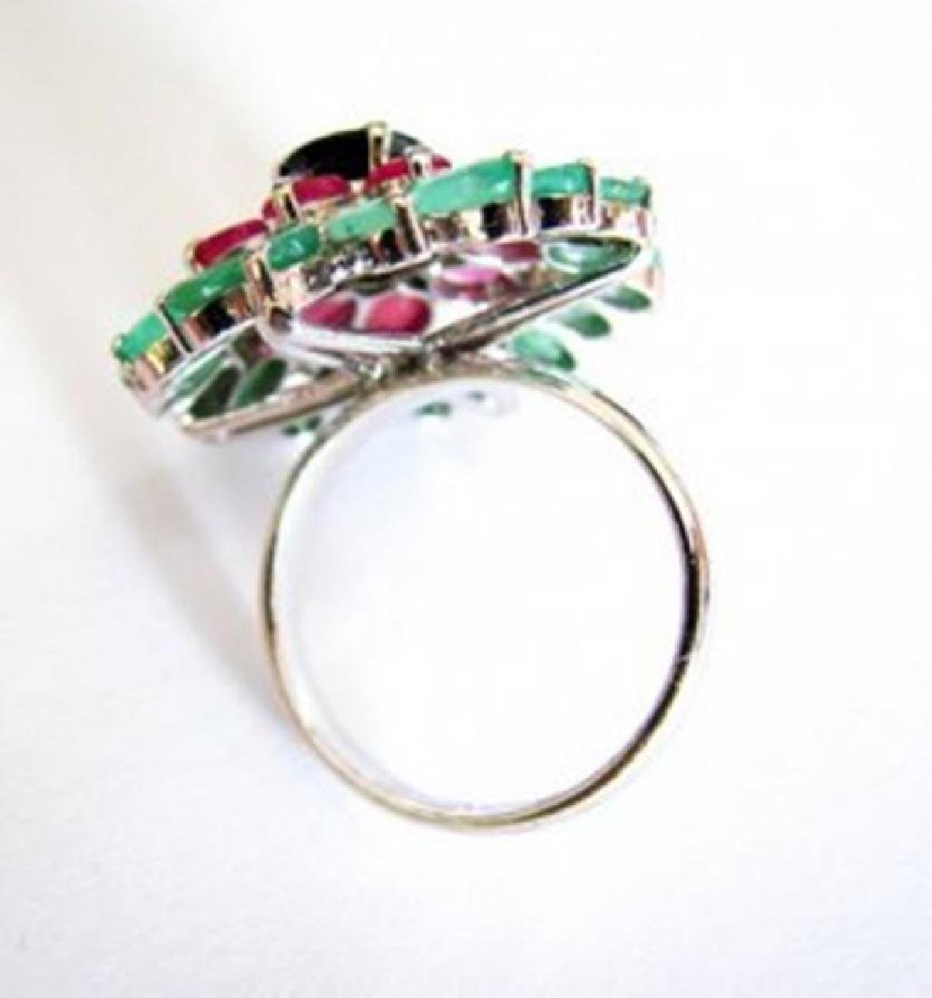 Natural  Multicolor Ring 12.64Ct 18k W/g Overlay - 4