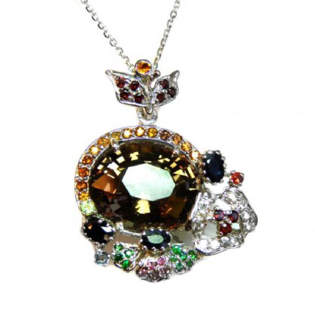 Natural Gems Multicolor Pendant 23.35Ct 18k W/g