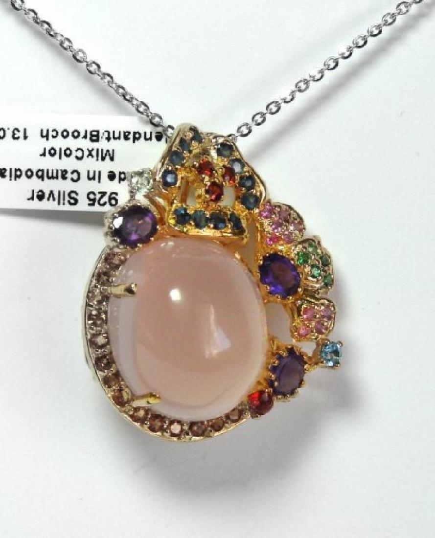 Natural Gems Multicolor Pendant /Brooch 26.35Ct 18k W/g