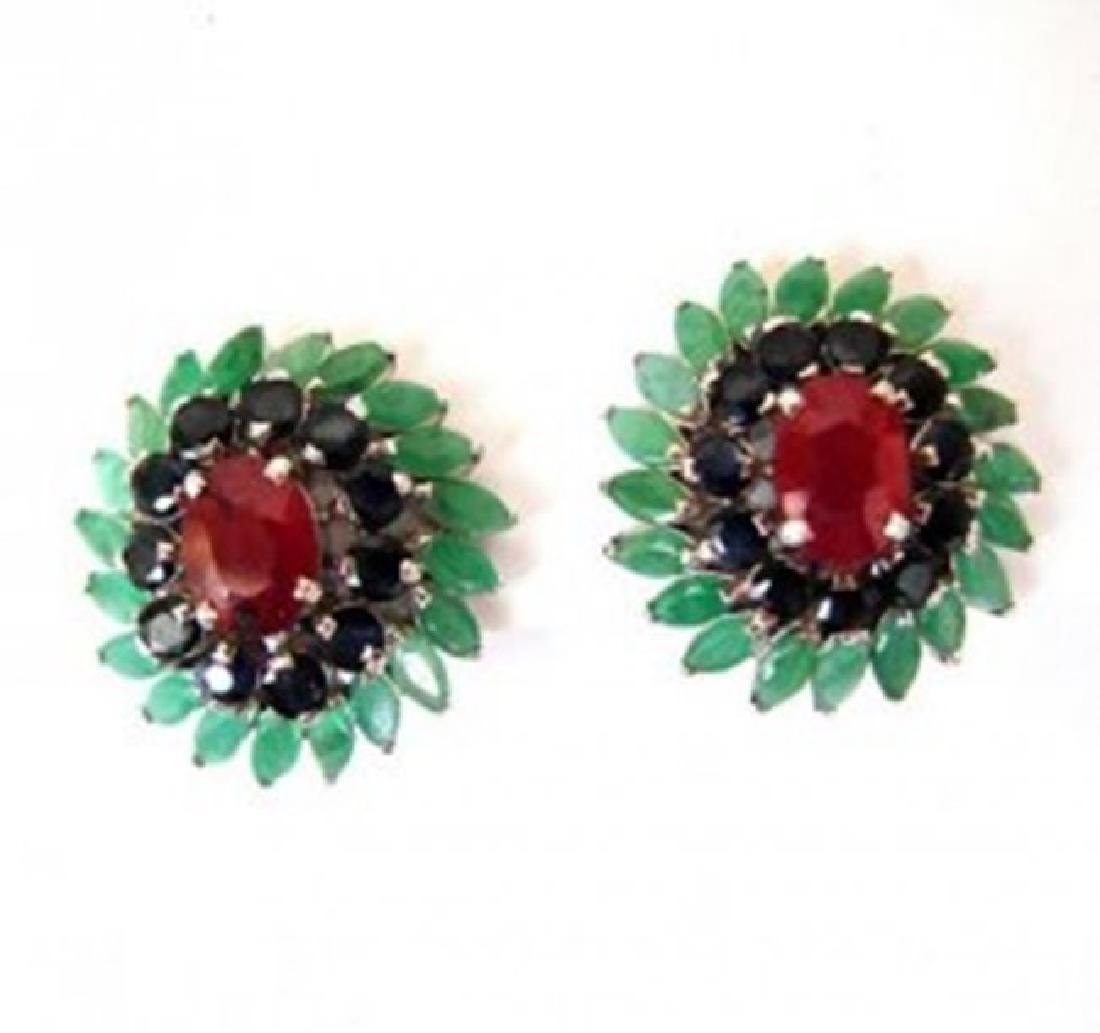 Natural Multicolor Earrings 15.94Ct 18k W/g Overlay