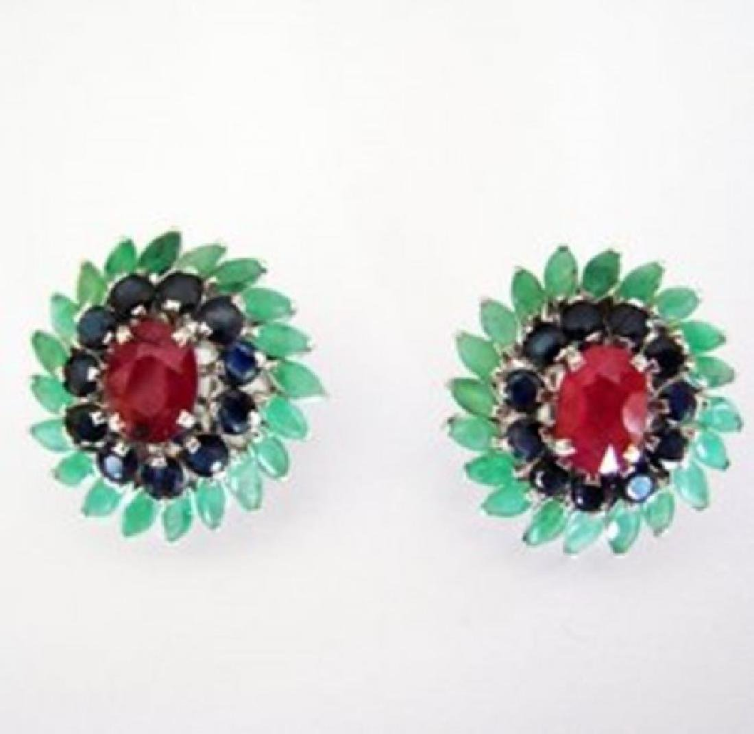 Natural Multicolor Earrings 15.94Ct 18k W/g Overlay - 2