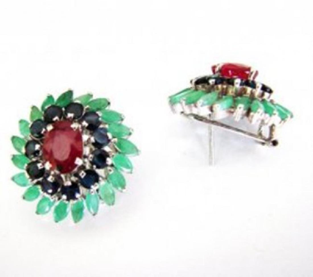 Natural Multicolor Earrings 15.94Ct 18k W/g Overlay - 3