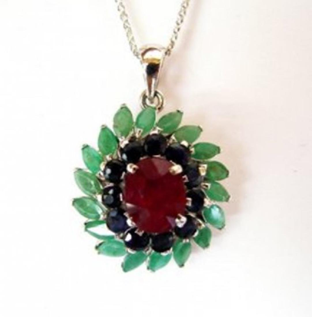 Natural Multicolor Pendant 8.22Ct 18k W/g Overlay - 2