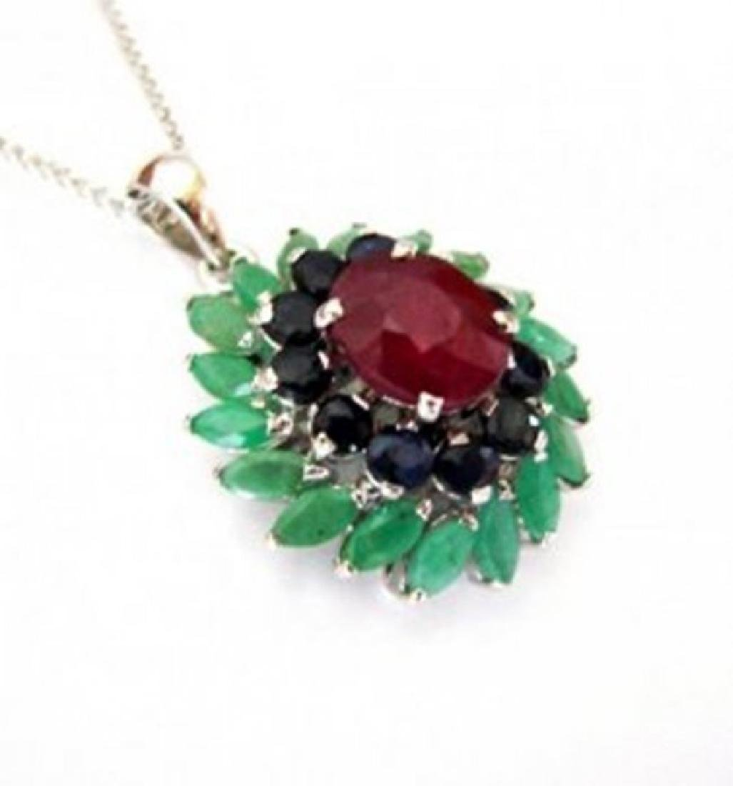 Natural Multicolor Pendant 8.22Ct 18k W/g Overlay - 3