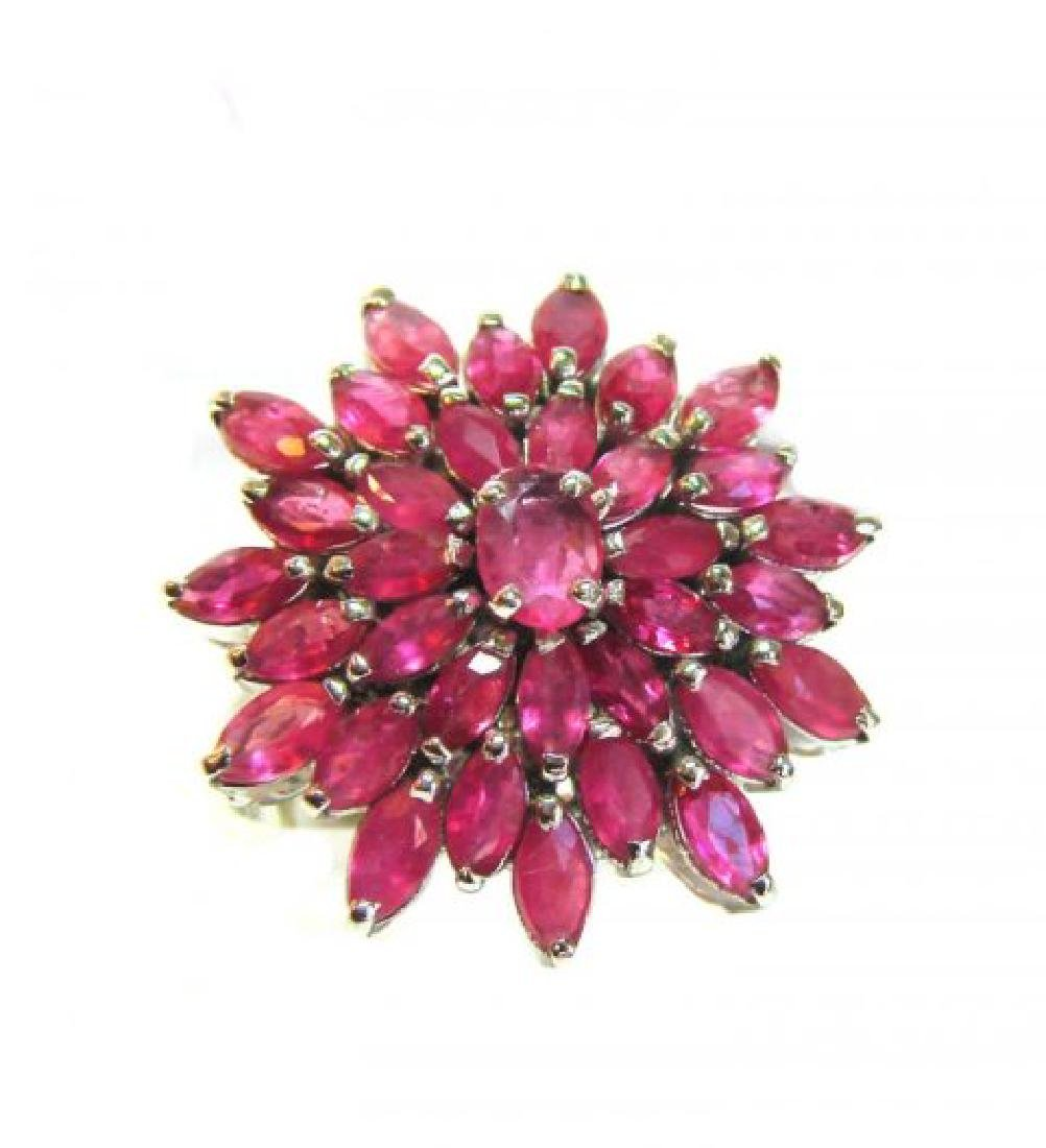 Natural Ruby Ring 3.91Carat 18k W/g Overlay
