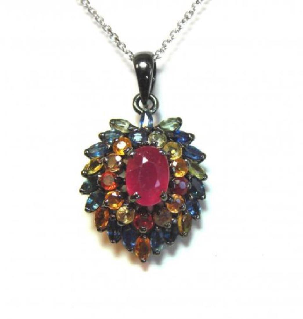 Natural Gems Multicolor Pendant 3.35 Carat 18k W/g - 3