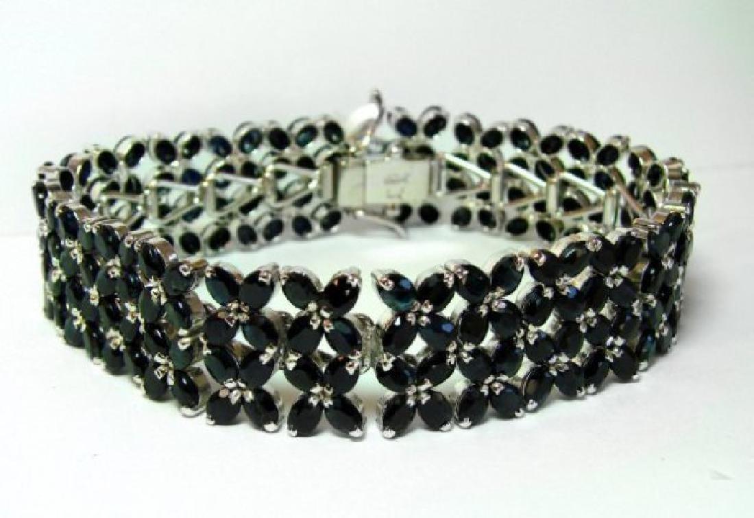 Natural Sapphire Bracelet 27.05Ct 18k W/g Overlay