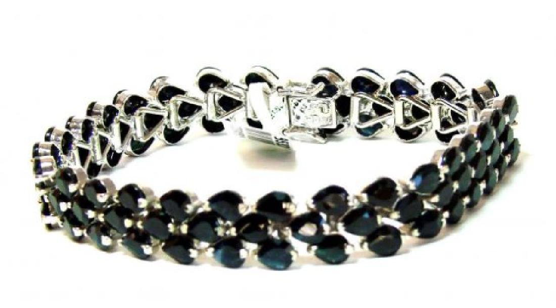 Natural Sapphire Bracelet 48.00Ct 18k W/g Overlay